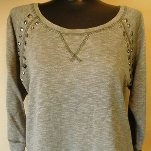 MAURICES 3/4 Sleeve Studded Gray Top - Sz. M